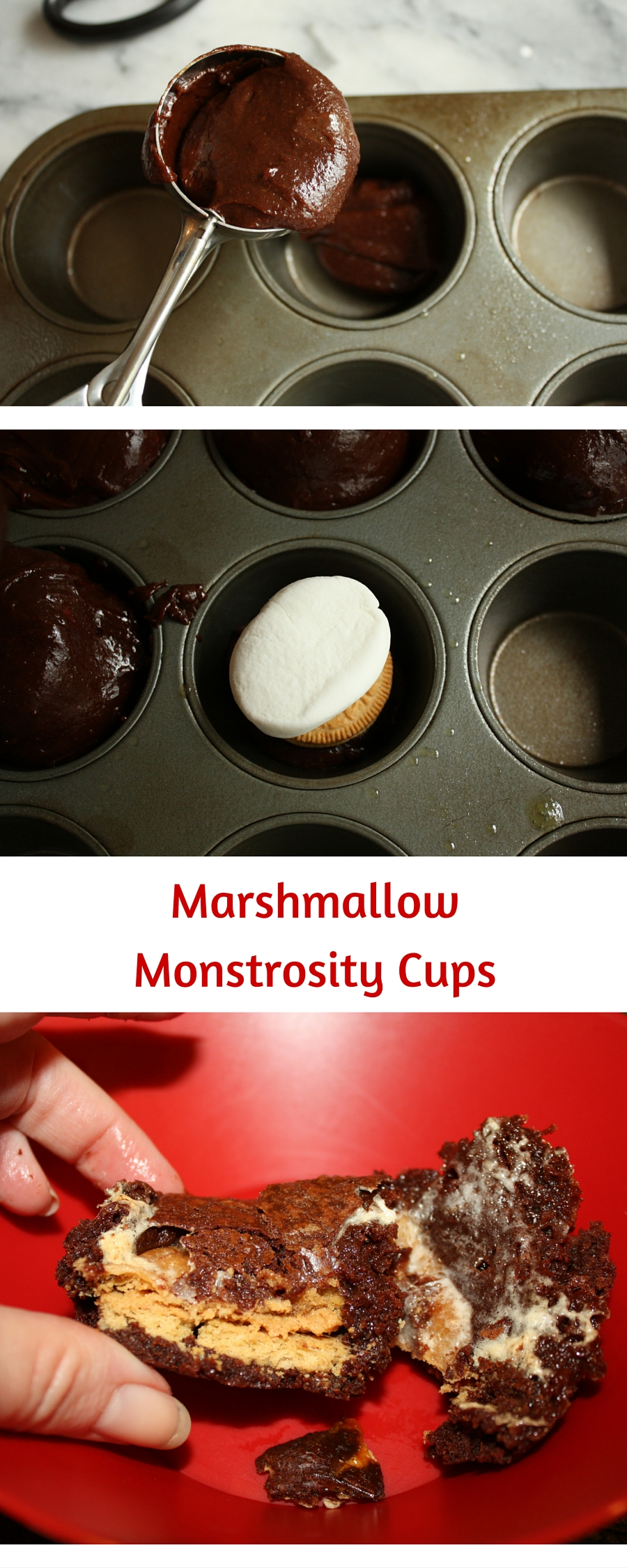 Marshmallow Monstrosity Cups are OVER THE TOP!! Filled with peanut butter cookies and jumbo marshmallows. The perfect recipe for a chocolate treat!