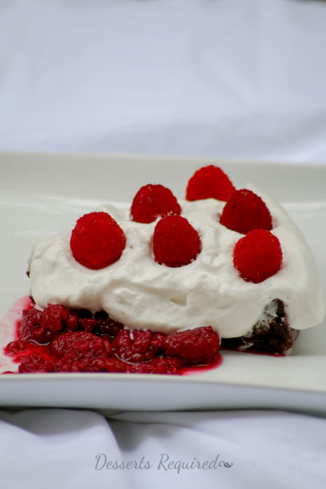 Desserts Required - chocolate decadence with cafe zinfandel whipped cream and raspberry sauce