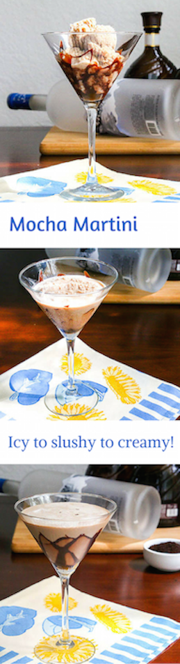 Mocha Martini is a wonderful twist on a Chocolate Martini. It's easy to make coffee ice cubes and then throw them in the blender with a chocolate martini.