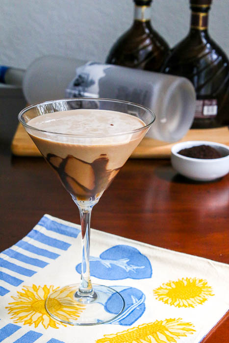 Desserts Required's Mocha Martini is a wonderful twist on a Chocolate Martini. It's easy to make coffee ice cubes and then throw them in the blender with a chocolate martini.