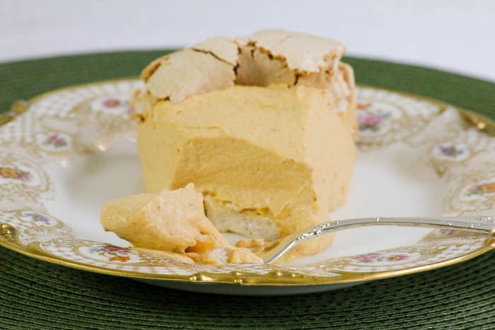 Pumpkin Angel Pie includes spices of the season (cinnamon, ginger and nutmeg) in both the meringue shell and pumpkin filling. A Thanksgiving favorite! #SundaySupper